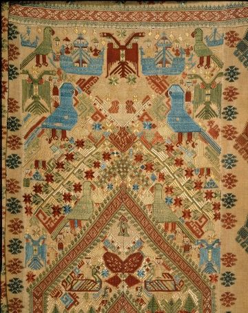 Greece, Kos, Dodecanese Linen plain weave, embroidered with silk