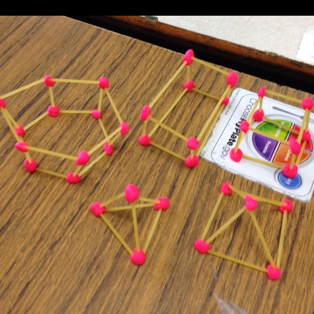 3d geometric shapes made with dry spaghetti and play dough Easy 3d model maker