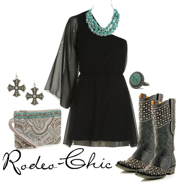 Straight Tequila Night by rodeo-chic on Polyvore, one shoulder dress, Old Gringo Cowboy Boots @oldgringoboots; Earrings @cavenders; little black dress, turquoise jewelry, concert outfit