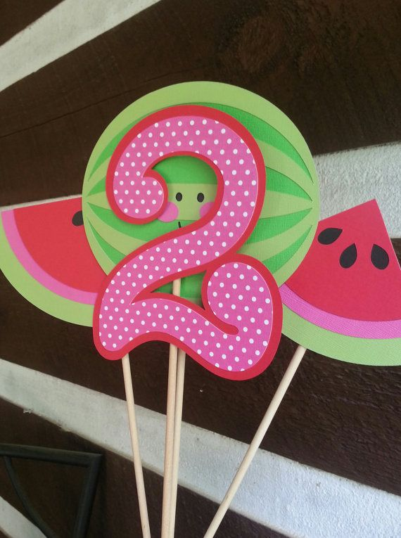 Watermelon birthday party centerpiece by Kirascollection on Etsy