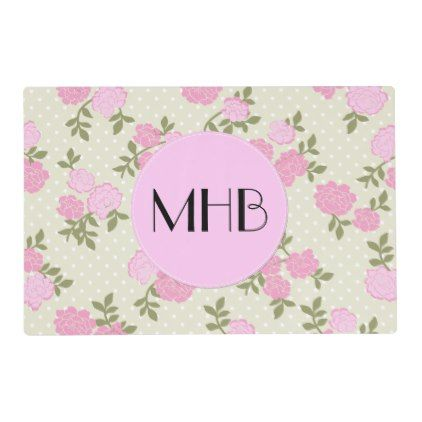 Monogram - Shabby Chic Dots Roses - Beige Pink Placemat - monogram gifts unique custom diy personalize