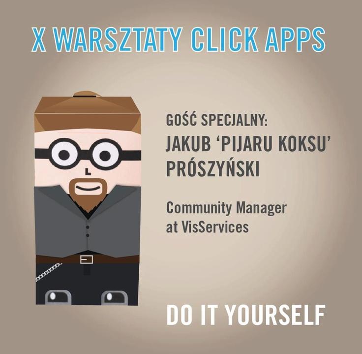 Jest możliwość spotkania z Jakubem Prószyńskim mózgiem i właścicielem Pijaru Koksu Blog, o którym, zupełnie bez kokieterii, powiedzieć można, że najczęściej jako pierwszy dystrybuuje wiedzę, bez które rasowy SM Ninja, Geek itd. miałby dużo trudniej!  Zapraszamy w czwartek, g. 9:00, Otwarte Warsztaty click apps, Vol. X, sezon2, spotkanie2. #Pijaru Koksu Blog, #Click test