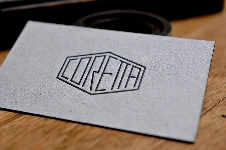 Carte de Visite du restaurant Coretta (Paris), imprimé en letterpress sur carton 500g, encre sur tranche, imprimé par Letterpress.fr