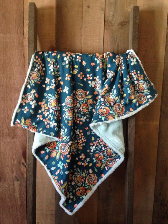 Floral Blanket with Coordinating Aqua Minky
