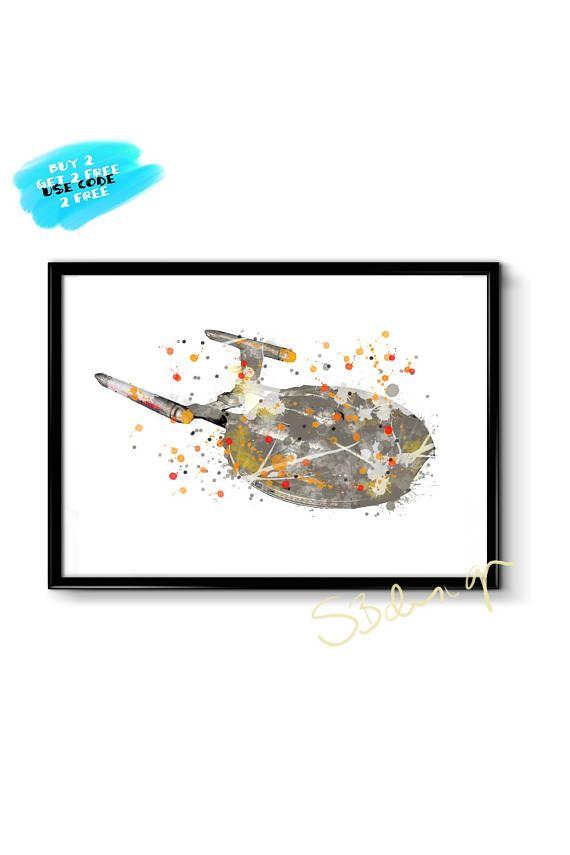 USS Enterprise Watercolor Poster Star Trek Poster Printable