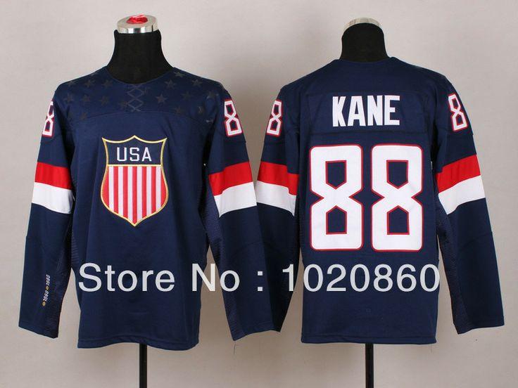 Newest Team USA Hockey Jersey Sochi 2014 Winter USA Olympic Hockey Jersey  #88 Patrick Kane jersey-in Sports Jerseys from Apparel & Accessor...