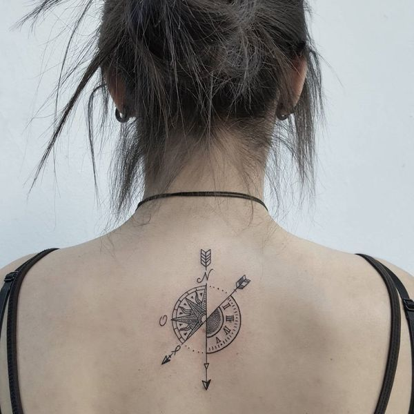 Black Minimalistic Clock and Compass Tattoo on Back