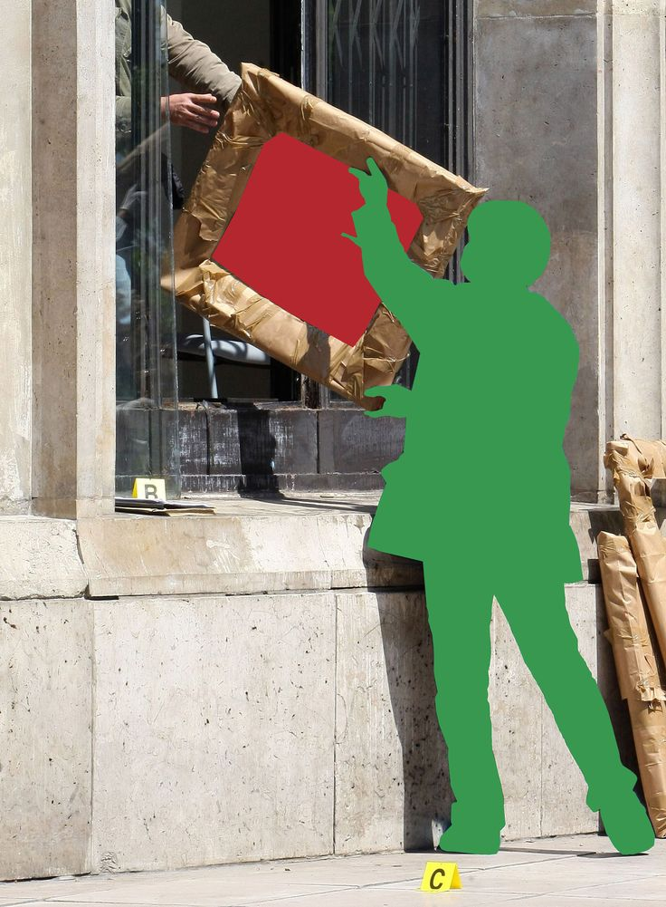 """John Baldessari, poster della mostra """"L'image volée"""", 2015-16. Le immagini utilizzate da Baldessari fanno riferimento a cinque capolavori rubati nel Maggio 2010 dal Musée de la Ville de Paris (Matisse, Picasso, Léger, Braque e Modigliani). Il ladro, Vrejan T. si è introdotto nel museo passando dalla finestra: l'allarme era rotto da settimane e pare che le guardie stessero dormendo. Le cornici vuote sono state abbandonate davanti al museo, mentre le opere non sono mai state ritrovate."""