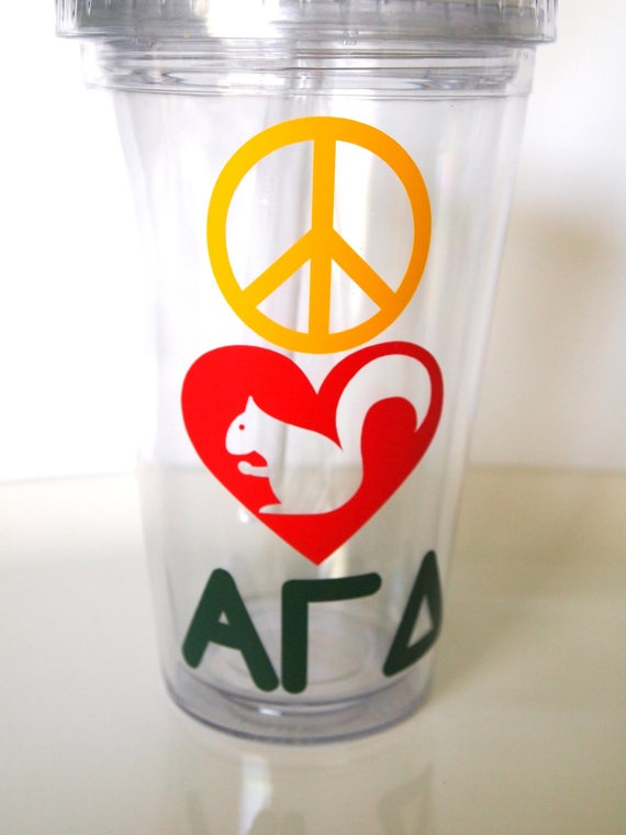 Peace Love and Alpha Gamma Delta sorority insulated by TAMstyle, $12.50 - how cute is the squirrel in the heart