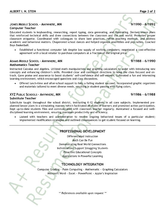 30 best A+ Resumes for Teachers images on Pinterest Job resume - Esl Teacher Sample Resume