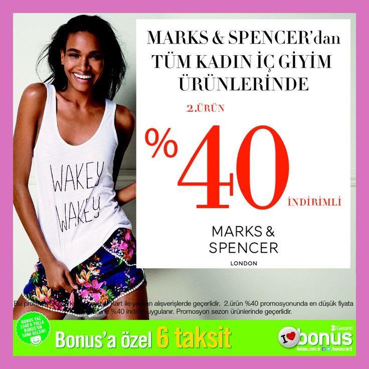 Marks & Spencer'da Tüm Kadın iç giyim koleksiyonunda 2. Ürüne  %40 indirimi kaçırmayın.