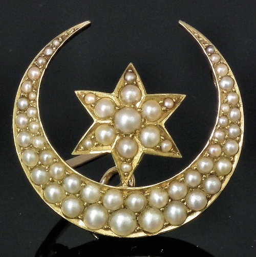 Victorian Seed Pearl Crescent Moon and Star Brooch.