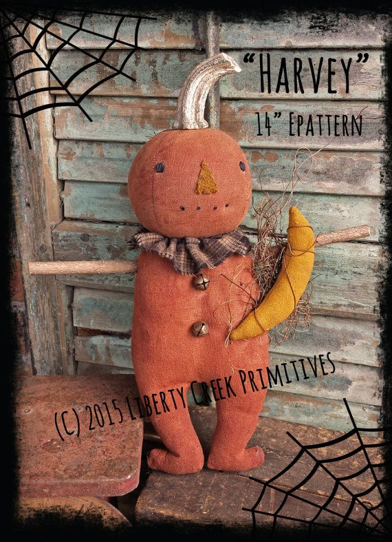 Harvey Primitive Pumpkin Man Doll Halloween Fall E pattern by libertycreek