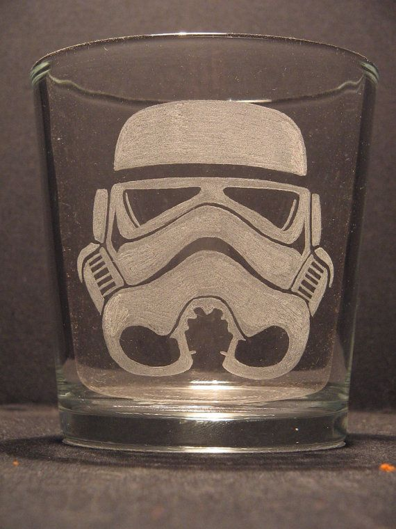 """Star Wars Storm Trooper helmet inspired whiskey glass Engraved/Etched Glass """"PICK YOUR STYLE"""""""
