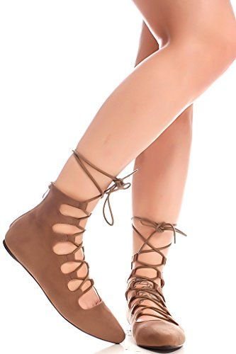 Lolli Couture FAUX SUEDE MATERIAL LACE UP DESIGN BACK ZIPPER POINTED TOE CASUAL FLATS 9 taupesuede ** Tried it! Love it! Click the image.