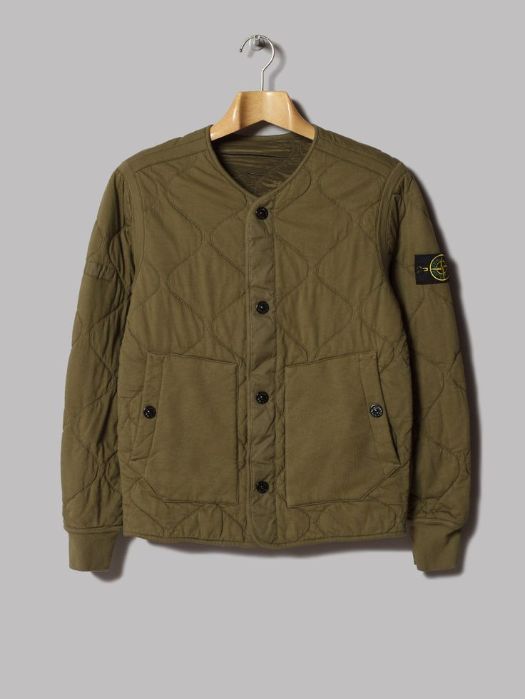 Stone Island Reversible Quilted Nylon Metal Jacket (Verde Militare)