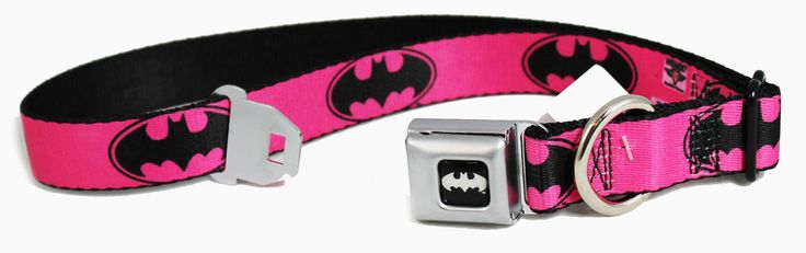 Pets and Purses - Pink and Black Batman Signal Seat Belt Buckle Dog Collars or Leash, $18.99 (http://www.petsandpurses.com/pink-and-black-batman-signal-seat-belt-buckle-dog-collars-or-leash/)