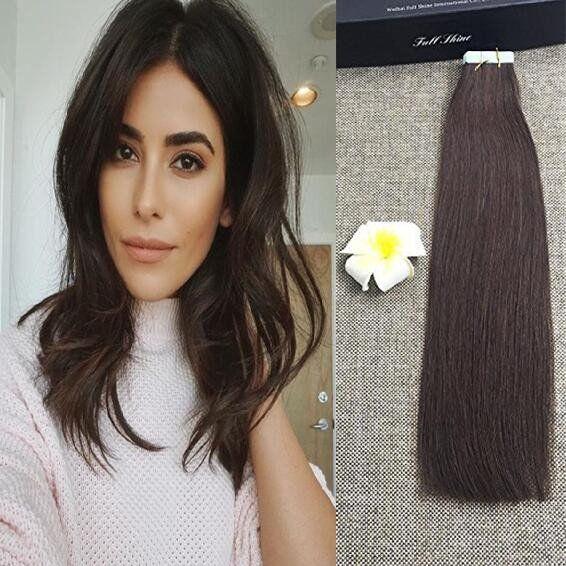 Dark Brown Glue in Hair Extensions Human Hair Tape Extensions – Full Shine