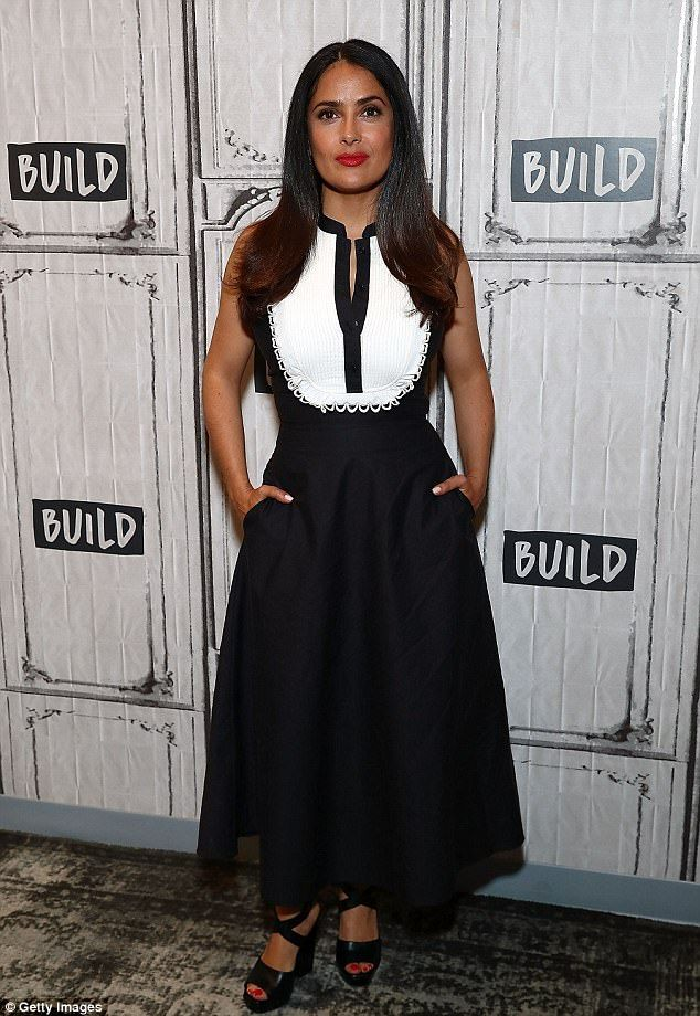Monochrome maven: Salma Hayek looked gorgeous as she posed at the Build Series studios in New York on Wednesday