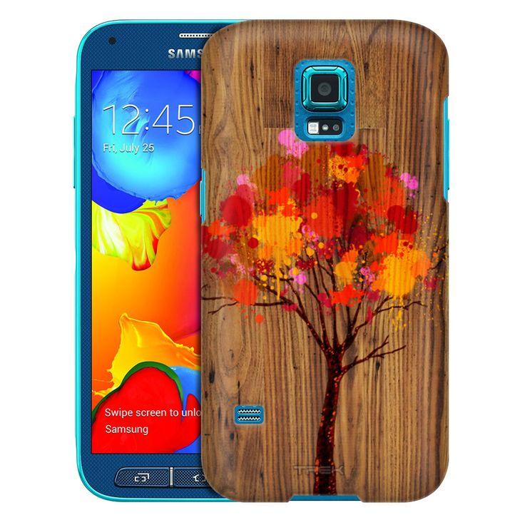 Samsung Galaxy S5 Sport Paint Splattered Tree on Wood Trans Case
