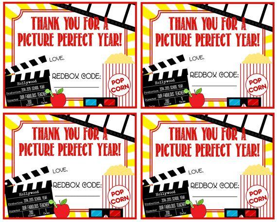 Teacher Appreciation Redbox Gift Tag Thank by Pinkowlpartydesign