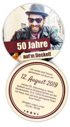 Bierdeckel Mit Foto Als Geburtstagseinladung   Egal Ob 50 Geburtstag Oder  25 Zigster. Einfach Selbst