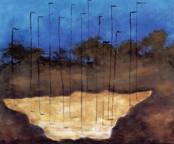 Josef Šíma - Landscape with straws (1930) #art #painting #Czechia