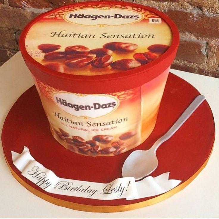 """""""Haagen Dasz Cake! #alledible #customflavor @pforpublicist ❤️#customcakes #customcake #fbf"""""""