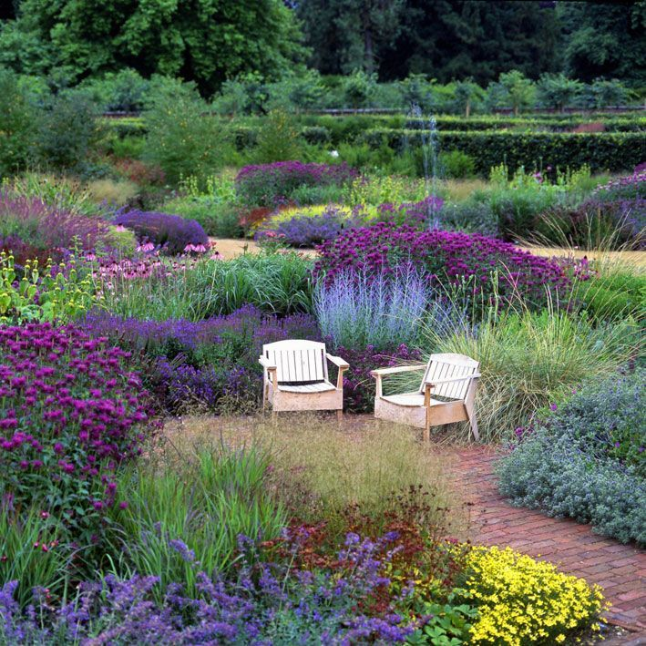 The two seats in the Scampston Walled Garden make the focal point without which this picture would be less interesting. I would have used two Adirondack seats painted a colour to complement the scene. This is the Perennial meadow in summer.
