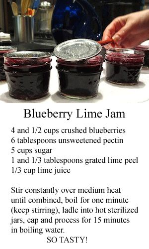 Blueberry Lime Jam - easy to do and delicious. #canning #recipes