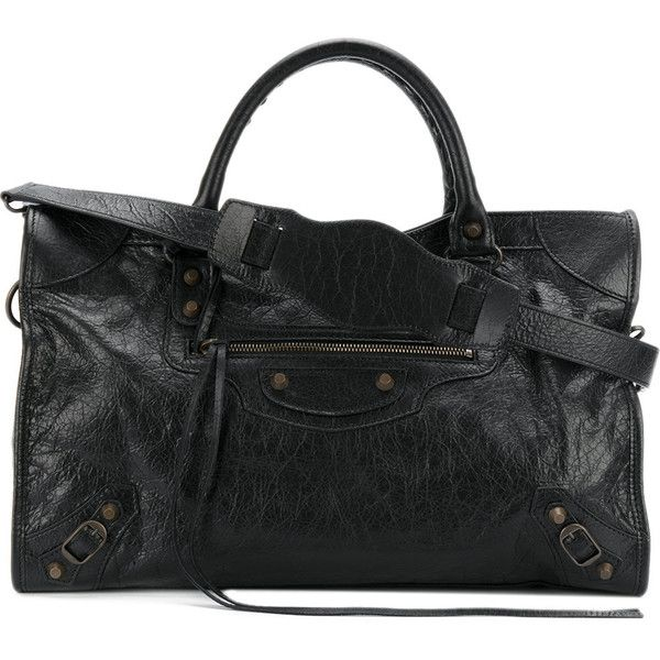 Balenciaga City Classic Leather Bag (7.105 BRL) ❤ liked on Polyvore featuring bags, handbags, black, zip top tote bags, leather shoulder bag, embroidery tote bags, zip top leather tote and balenciaga tote