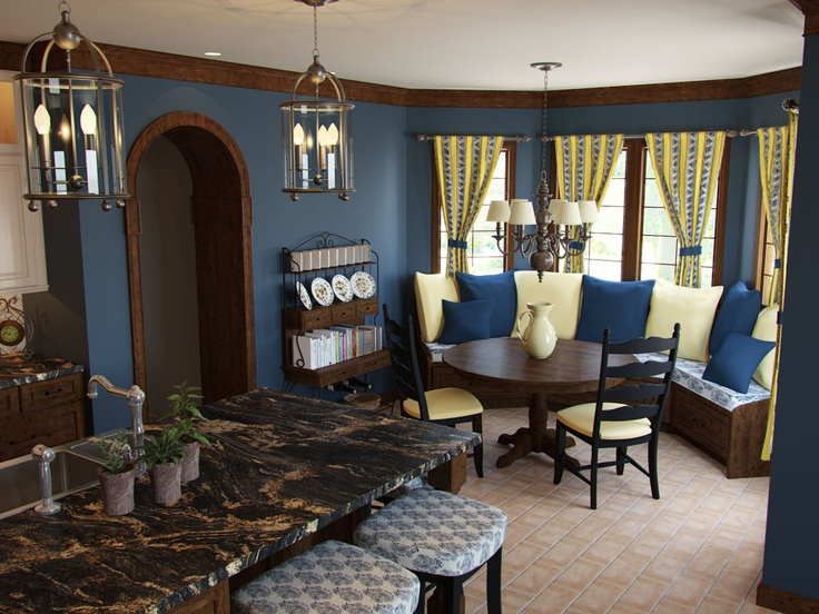 French country kitchen. Love that banquet seating!!