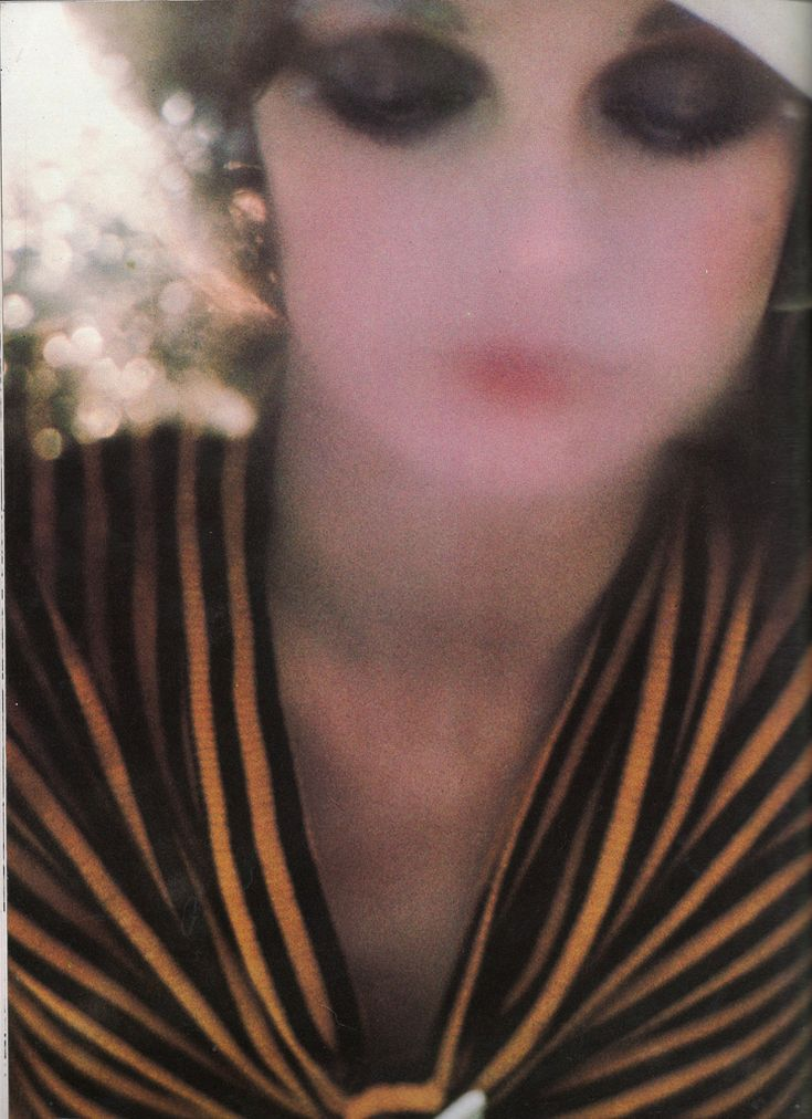 Beautiful photograph by Sarah Moon in the April, 1972 issue of UK Vogue. Make up by Barbara Daly using Maybelline make up. ~ thefoxling