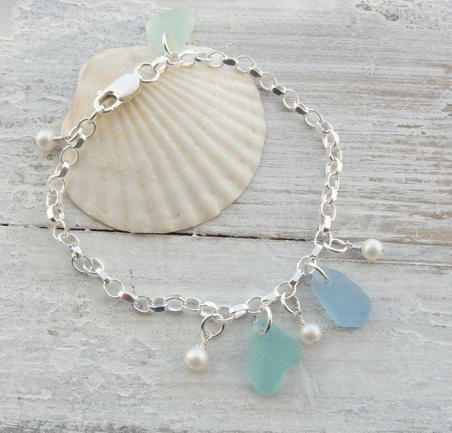 Scottish Sea Glass & Fresh Water Pearl Sterling Silver Bracelet - BLUE SHIMMER £36.00
