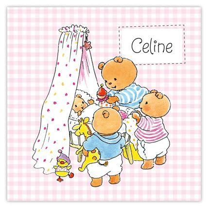 Geboortekaartjes Bobbi beer vierde kindje meisje. Illustraties: Monica Maas Voor iedere gezinsopstelling aanpasbaar