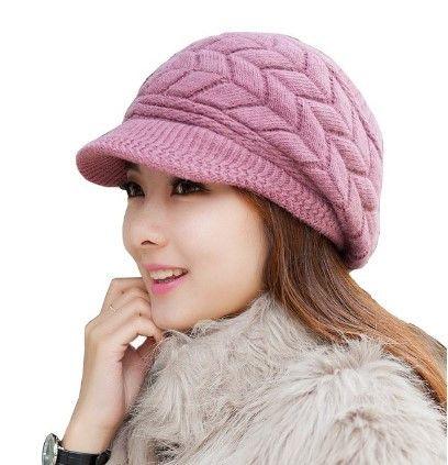 Womens Winter Warm Wool Snow Ski Fashion Trendy Hat