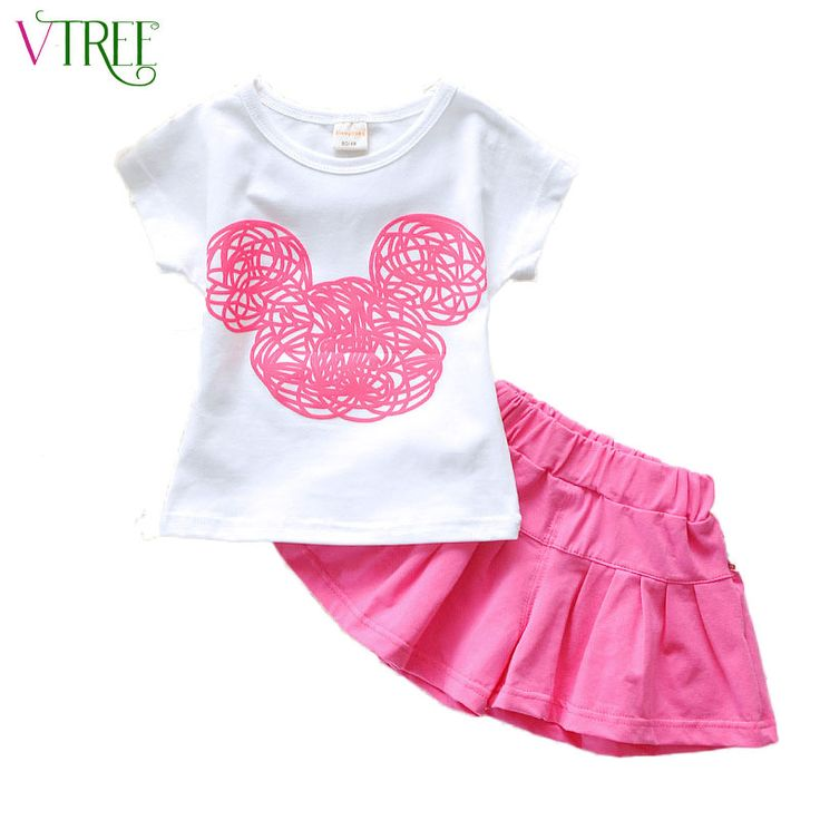 V-TREE Summer 2016 girls clothing set candy color shirt+shorts girl set cotton costume for kids girls' school clothes