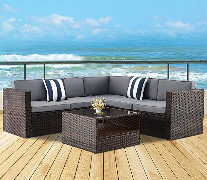Amazon Com Solaura Outdoor 4 Piece 5 Seats Sofa Sectional Set All Weather Brown Wicker Wi In 2020 Outdoor Sectional Couch Patio Furniture Sets Garden Furniture Sets