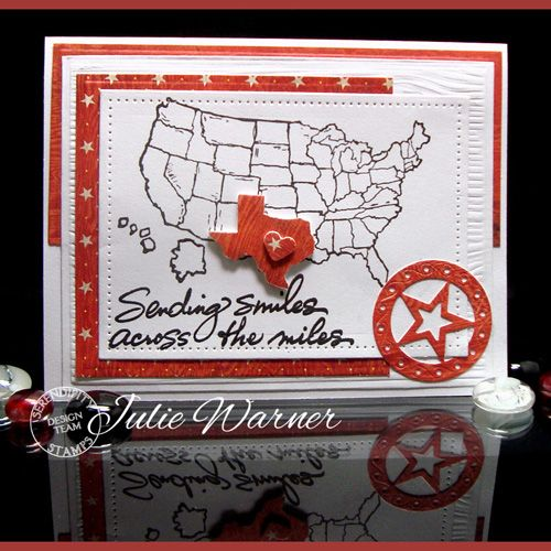 Serendipity Stamps US Map and Sending Smiles stamps and Bandana Die (concho)