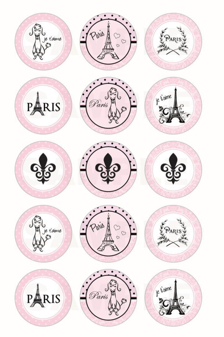 INSTANT DOWNLOAD Paris Parisian Bottle Cap Images by DigiPrintz