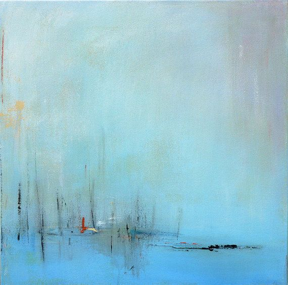 Abstract Winter Landscape Painting Acrylic Original by jgouveia
