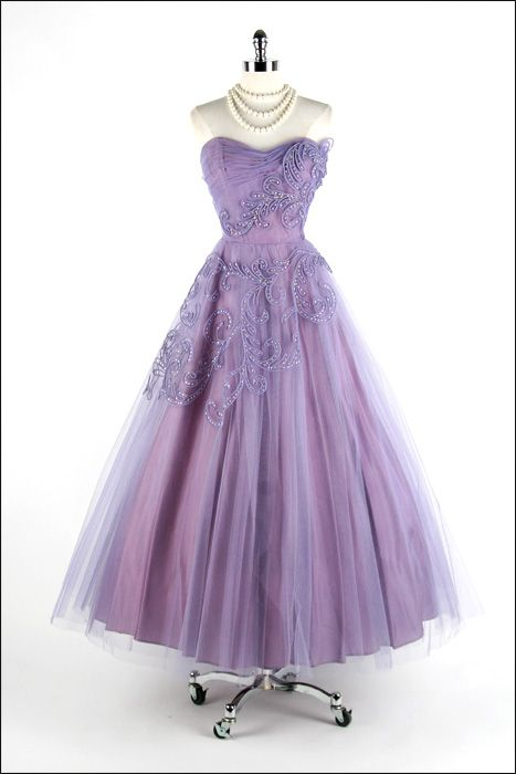 Evening Dress, Kay Selig (New York): ca. 1950's, tulle,  acetate lining, soutache and sequin trim, bodice with stays.