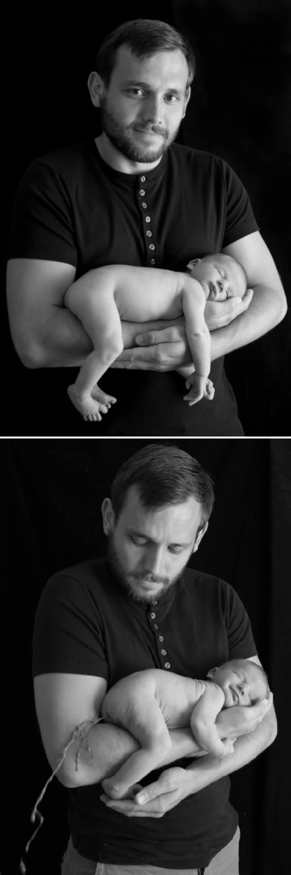 Newborn baby poops on his father's arm during tender b&w photoshoot