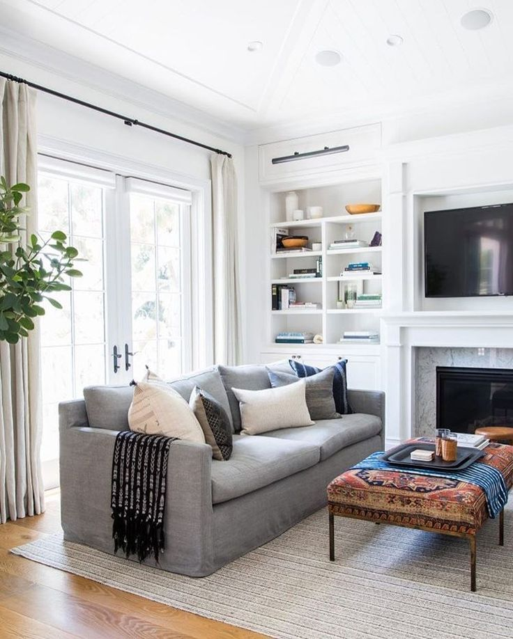 Modern Meets Traditional Living Room Decor With Gray Sofa And