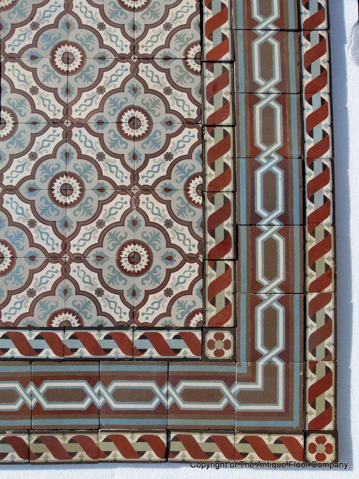 13.25m2 / 140 sq ft antique French triple border ceramic floor c.1915 - The Antique Floor Company