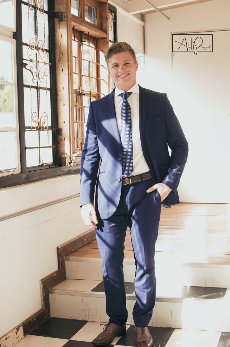 Handsome young man ready for the Grey Bloemfontein Matric Farewell Dance '17. Navy tailored suit.