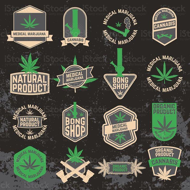 Set of cannabis, marijuana, bong shop labels, badges and design royalty-free stock vector art