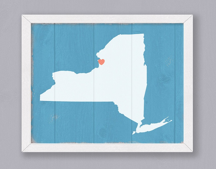 "New York - Rustic 16""x20"" Handmade Personalized Sign - Custom Heart Location-The  heart location is almost exactly where I'm from!"