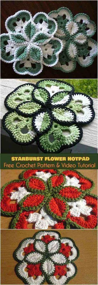 Flower Starburst Crochet HotPad [Free Pattern]