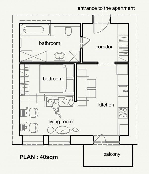 Best 25 small apartment plans ideas on pinterest for 100 sq ft room ideas